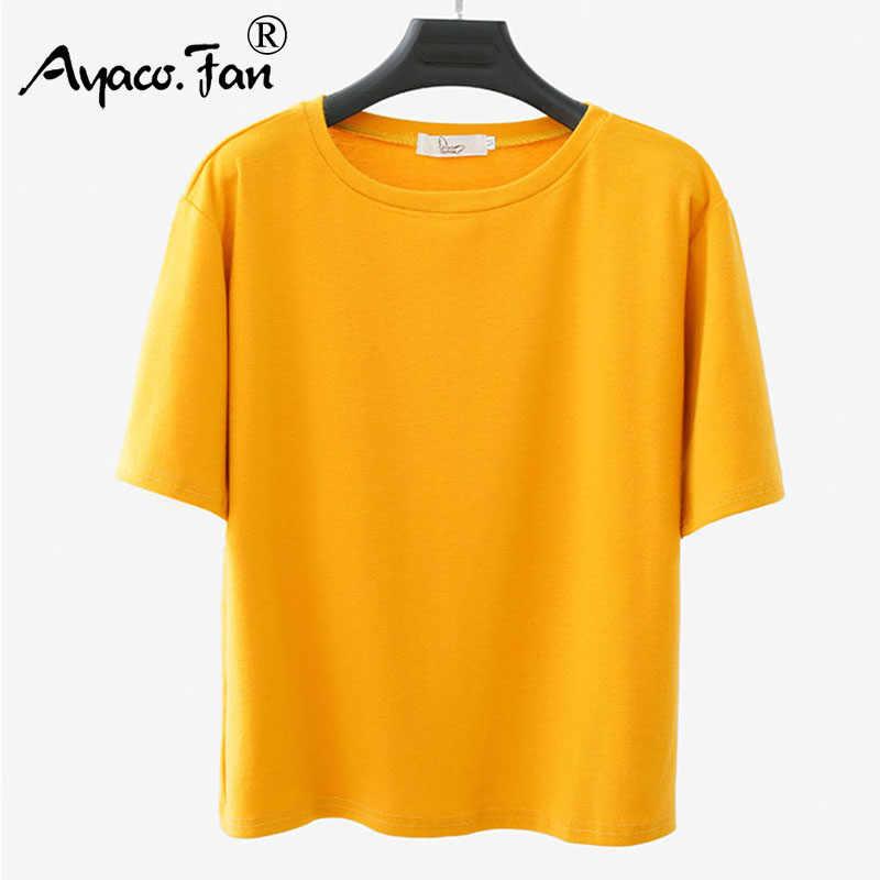 Новинка 2019 года; летние свободные футболки Harajuku для женщин; Студенческая футболка для девочек; футболка с коротким рукавом; тонкие мягкие женские топы; большие размеры