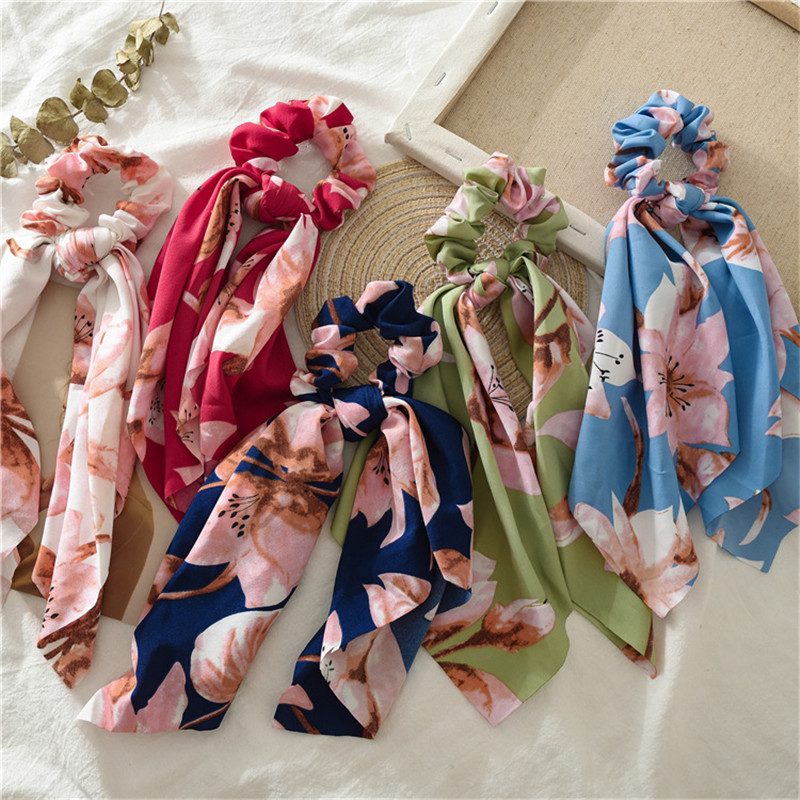 Sale Hair Ring Scrunchies Horsetail Tie Streamer Print Flower Long Tassel Ribbon Girl Hair Bands   Headwear   Accessories