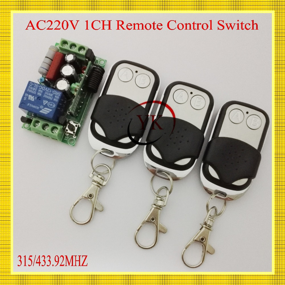 AC220V 1CH Lighting Switches Remote Control Switch 1 Receiver 3 Transmitter Learning Code Remote Controller 315/433 A ON B OFF remote control switch led light lamp remote on off system ac85v ac260v 100v 110v 240v 230v 127v learning code receiver 315 433