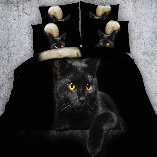 Black Cat Bedding Sets 3d Animal Duvet Quilt Cover Twin