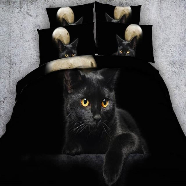 Black Cat Bedding Sets 3d Animal Duvet Quilt Cover Twin
