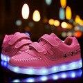 2016 Luces LED de Los Niños zapatos Niños/Niñas cargador USB iluminado schoenen Kids sport shoes chaussure moda Luminosa zapatillas
