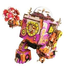 Robotime Ограниченная серия красочный робот Деревянный DIY 3D игра-головоломка стимпанк музыкальная шкатулка игрушка подарок для детей любовник ...