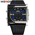 Original WEIDE Men's Military Sports Watch With Paper Gift Box Japan Quartz Alarm Clock Analog LED Leather Strap Watches For Men