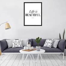 Nordic Decoration Life is Beautiful Wall Art Canvas Poster and Print Canvas Painting Decorative Picture for Living Room Decor(China)