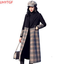 Autumn Winter New Fashion Women wool coat High quality Long sleeve splice lattice woolen coat Large size Elegant women coats 825(China)