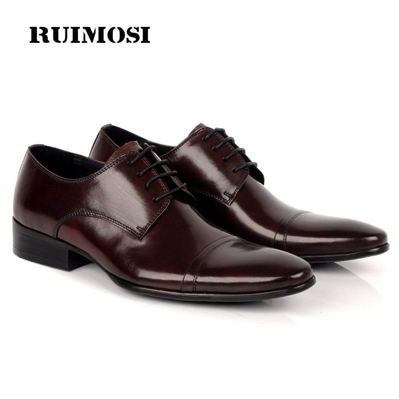 RUIMOSI Formal Brand Man Dress Wedding Shoes Genuine Leather Italian Designer Oxfords Round Toe Men's Cap Top Flat footwear BD37