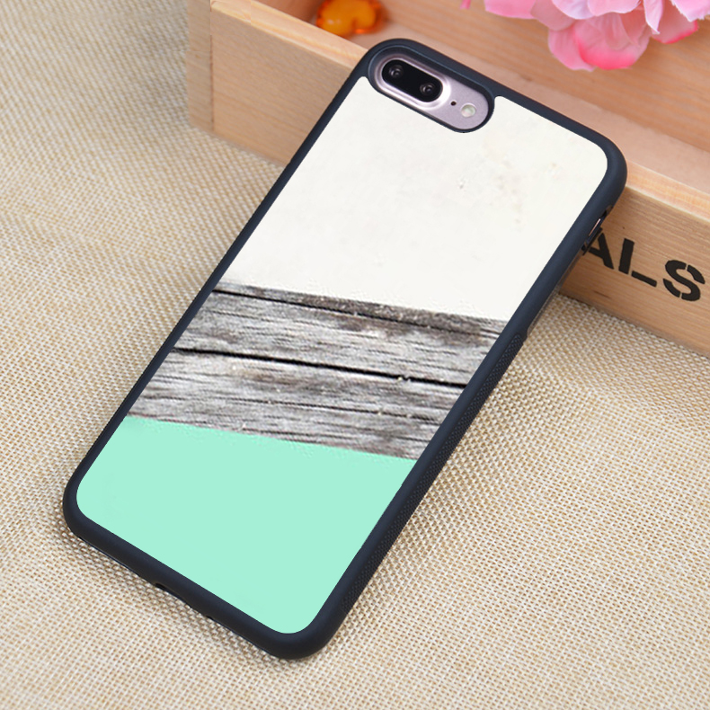White Grey Wood Mint Collage Print Soft Rubber Mobile Phone Cases For iPhone 6 6S Plus 7 7 Plus 5 5S 5C SE 4 4S Cover Skin Shell