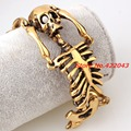 "8.26"" Fashion Rock Design Party Jewelry Gold Tone 316L Stainless Steel Cuff Men's Bangle Bracelet Biker Skull Skeleton Style"