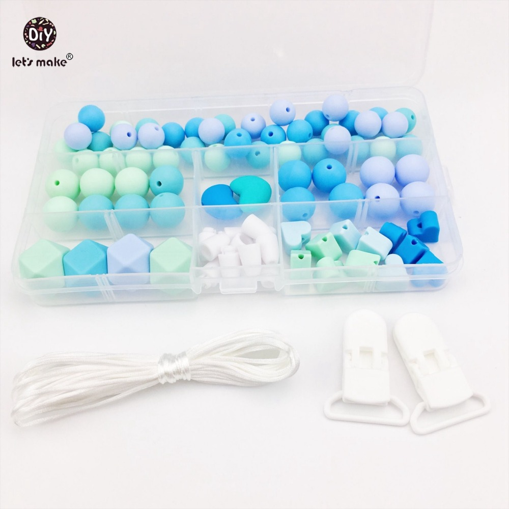 Let's Make Baby Accessories Hand Made Pacifier Clip DIY Beads Set Teething Jewelry Nursing Necklace Silicone Beads Baby Teether