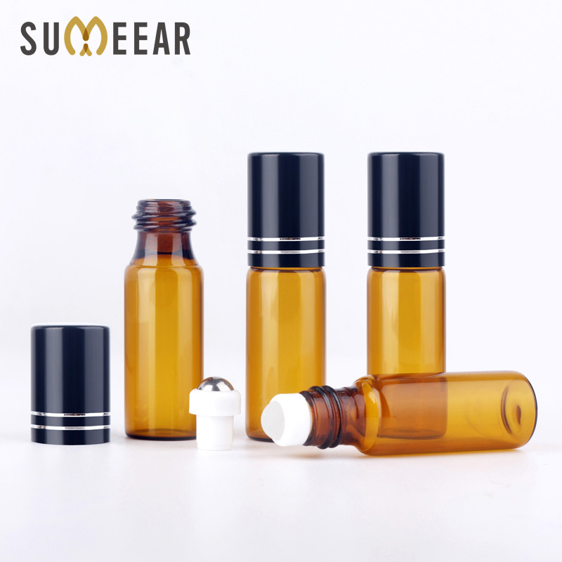 100Pcs Lot 5ml Roller Essential Oil Bottles Rollerball Container Refillable Bottle Brown Protected From Light Smear