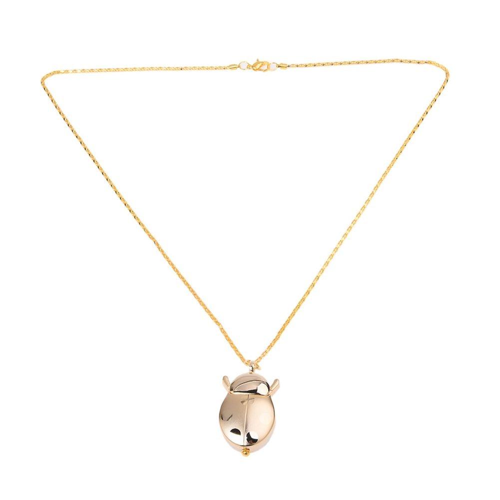 Practical  Ladies Arabic Numerals Display Gold Tone Ladybug Pendant Necklace Watch