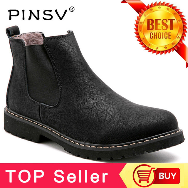 Plus Size 37-45 Chelsea Boots Men Winter Shoes Black Split Leather Boots Mens Footwear Warm Plush Fur Winter Boots For Men PINSV