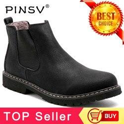 Plus Size 37-45 Chelsea Botas Homens Sapatos de Inverno Botas de Couro Rachado Preto Dos Homens Calçados de Inverno Quente Plush Fur botas Para Homens PINSV