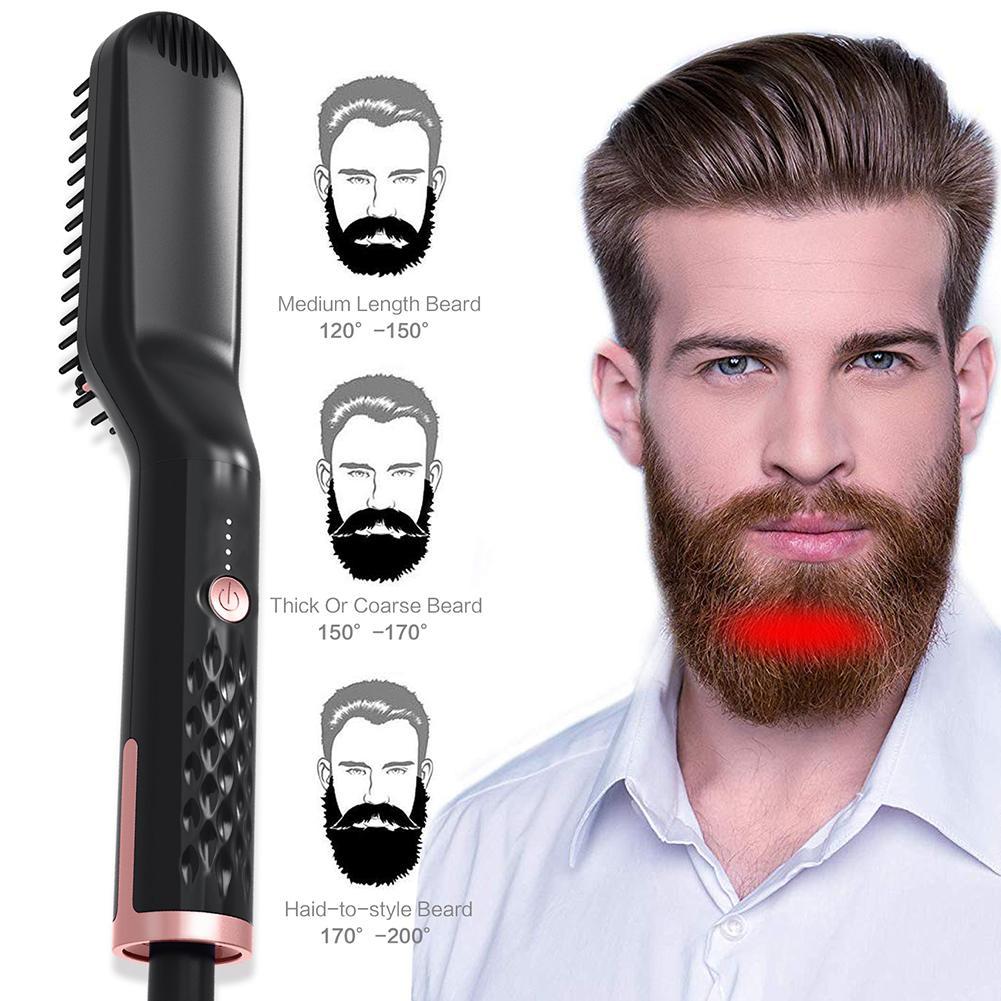 Multi-fonctionnel hommes style cheveux peigne brosse barbe lisseur cheveux redresser peigne cheveux bigoudi hommes Styler outil