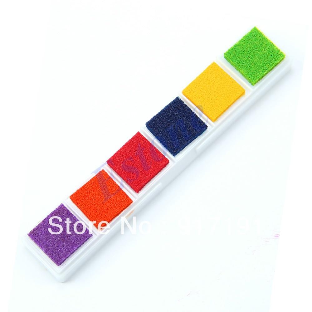 c705b0a68 E74 al por mayor 10 cajas/Lot multi 6 color Ink pad inkpad Signet FR madera  sello de goma Tarjeta de papel DIY colorido