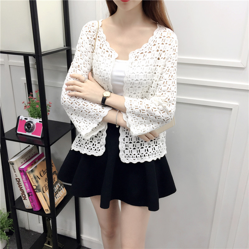 Camisas Mujer 2017 Spring Summer Crochet White Lace Blouse Women Fashion Tops Sexy Hollow Out Knitted Cardigan Chemise Femme 11