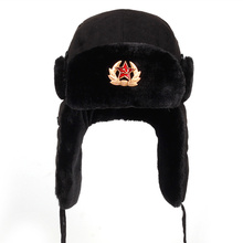 Soviet Army Military Badge Russia Ushanka Bomber Hats Pilot Trapper Aviator Cap Winter Faux Rabbit Fur Earflap Snow Caps hat cheap Y9885 Unisex VORON Cotton Adult Animal black pink 7-45 days based on the way you choose Autumn and winter