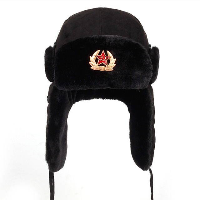 6958a972f US $7.98 20% OFF|Soviet Army Military Badge Russia Ushanka Bomber Hats  Pilot Trapper Aviator Cap Winter Faux Rabbit Fur Earflap Snow Caps hat-in  ...