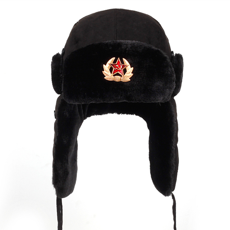 MENS BLACK RUSSIAN SOVIET BADGE TRAPPER HATS WINTER WARMTH SNOW ULTIMATE HEAT