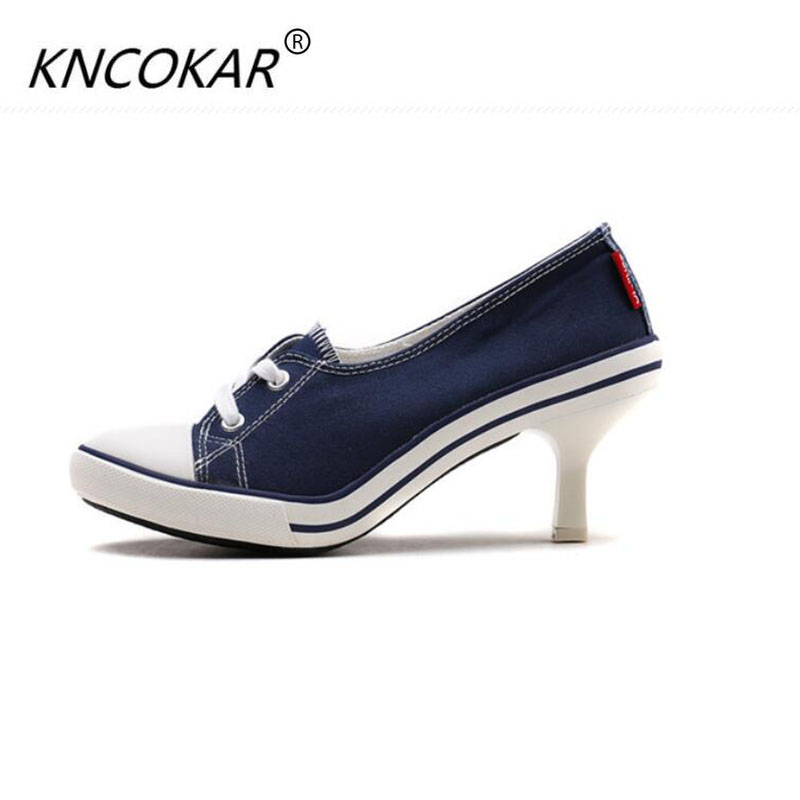 KNCOKAR In 2017 the new denim canvas slippers High heel fashion shoes with sexy casual and comfortable shoes holiday gifts qiu dong season with plush slippers female students in the summer of 2017 the new han edition joker fashion wears outside a word