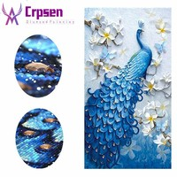 50x73CM Peacock Diamond Painting with New Silk Cloth Soft Canvas 5D DIY Full Round&Special Drill