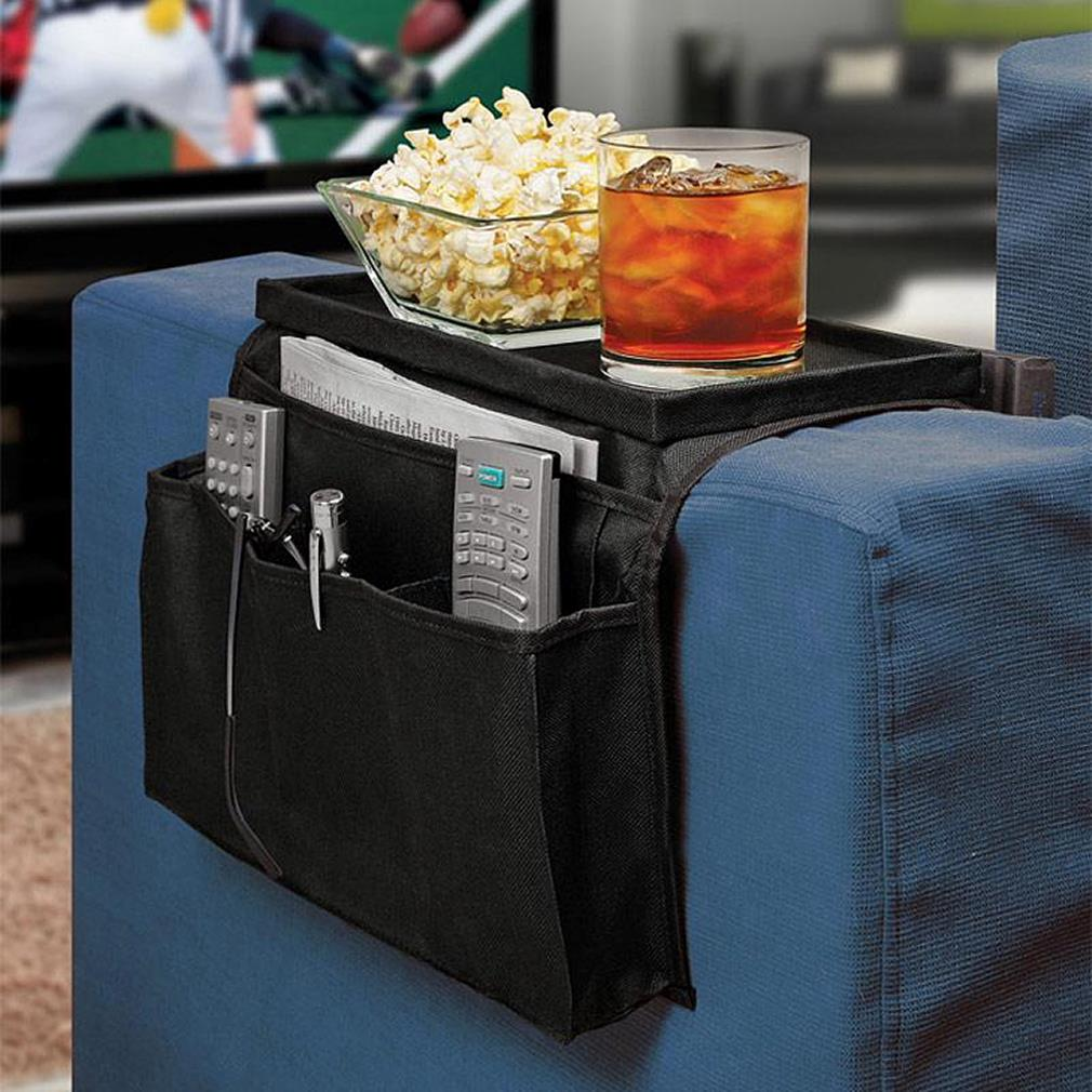 6 <font><b>Pockets</b></font> <font><b>Sofa</b></font> Handrail Couch Armrest Arm Rest Organizer <font><b>Remote</b></font> Control Holder Bag On TV <font><b>Sofa</b></font> Corrimao Braco Resto image