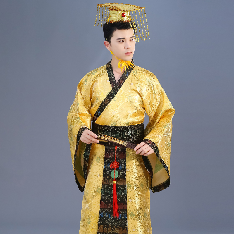 Adult Chinese Traditional Hanfu Dress Men Emperor King Stage Yellow Clothing Tang Suit Costumes Men'S Robe+Hat Sets DL3184-in Chinese Folk Dance from Novelty & Special Use    2