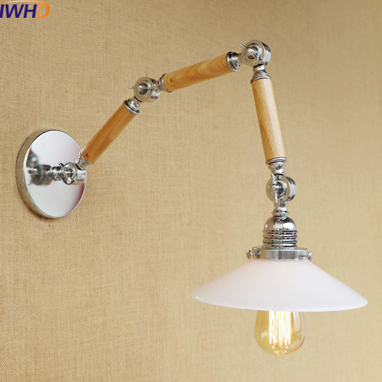 IWHD Glass Long Arm Antique Wall Sconce Lighting Fixture