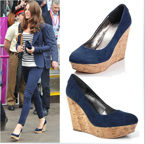 2015 Women's Fashion Pumps Navy High Wedge Heels Platforms Closed ...