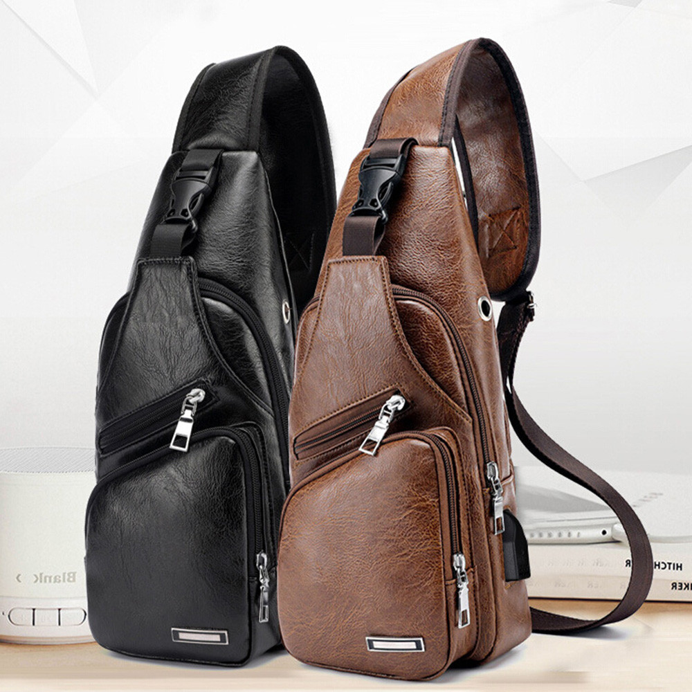 Chest-Bag Shoulder-Bag Messenger Diagonal-Package Cross-Border Custom Men's PU For PVC