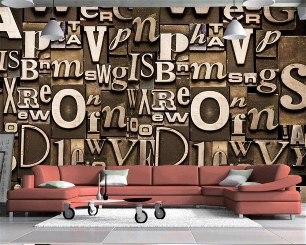 Beibehang Hotel Cafe Hintergrund Dekorative Tapete Retro Style Englisch Brief Relief Wohnzimmer TV Wandbild 3D Wallpaper