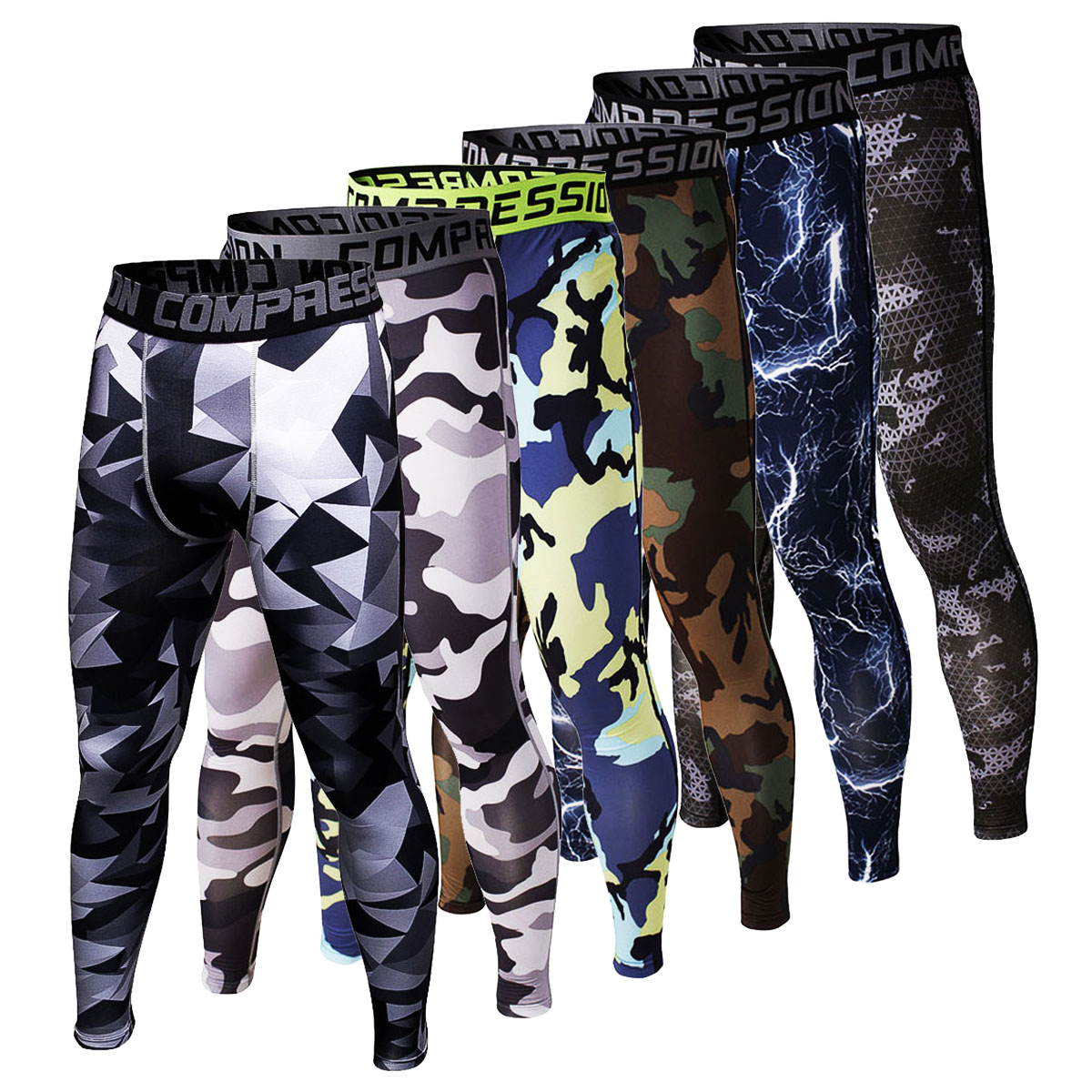 Camouflage 3D Print Mens Compression Pants Fashion Jogger Collant - Abbigliamento da uomo - Fotografia 2