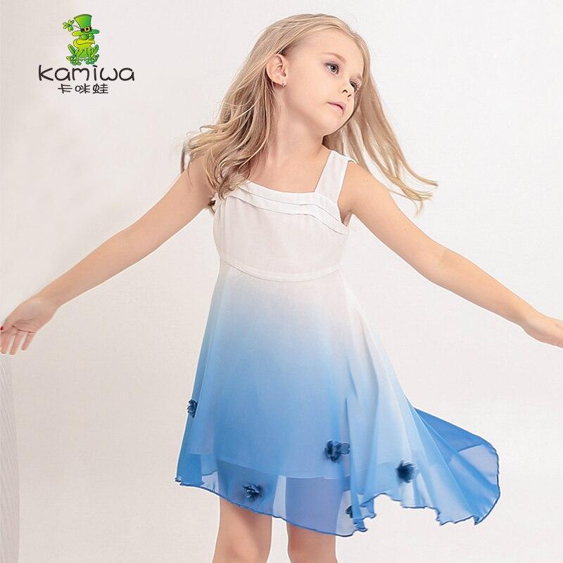 KAMIWA 2017 Chiffon Teenage Girls Dresses Gradiente Blue Brand Princess Wedding Summer Style Baby Children Clothing Kids Clothes