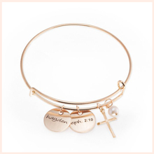 StrollGirl 925 Sterling Silver Custom Name Bracelet Gold Bible Verse Bangles for Women Personalized Confirmation Jewelry Gift