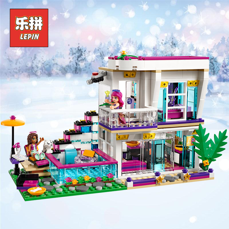 LEPIN 01046 City Girl the Pop Star House Designer Set Toy Building Blocks kids Bricks Christmas gifts Compatible 41135 Children lepin 01046 girls club friends livi s pop star house building blocks compatible with friends house 41135 brick toys