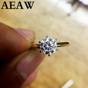 100% 18K Au750 Yellow Gold 1ct Moissanite Engagement Diamond Ring D Color VVS With National Certificate For Women(China)