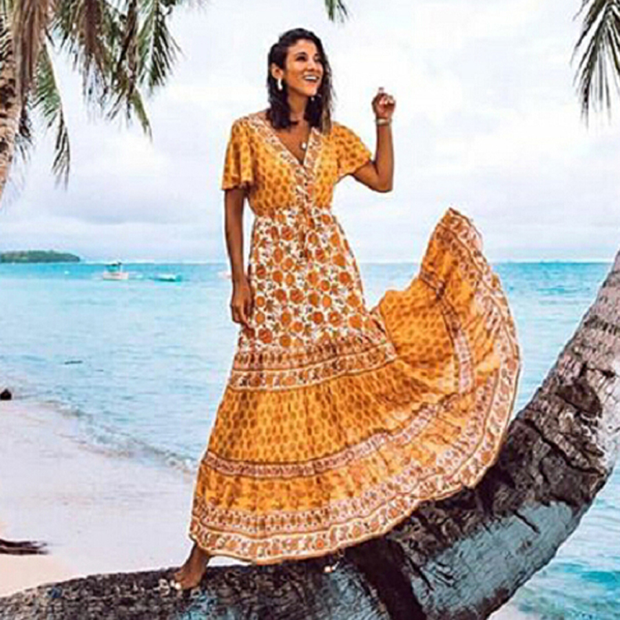 ff2295a6da3f2e2 TEELYNN BOHO платье 2019 вискоза желтый цветочный принт платья v-ncek  пляжная одежда летнее платье Gypsy длинные платья для женщин макси vestidos