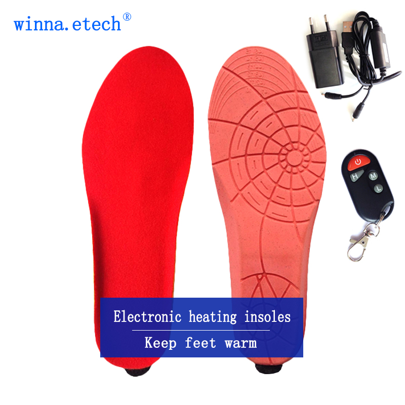 Electric Heated Insole in Winter Female sports shoes Boots Pad With Remote Control RED Foam Material EUR Size 41-46#