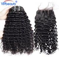 Malese profonda capelli ricci human 3 bundle con chiusura vip bellezza capelli ricci bundle con pizzo chiusura capelli non remy estensione