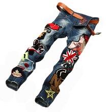 Мода Предназначена Джинсы Мужчин Тонкий Прямой Ноги Длинные Брюки Вышивка Знак Шаблон Тощий Джинсовые Брюки Сплит Случайные Джинсы