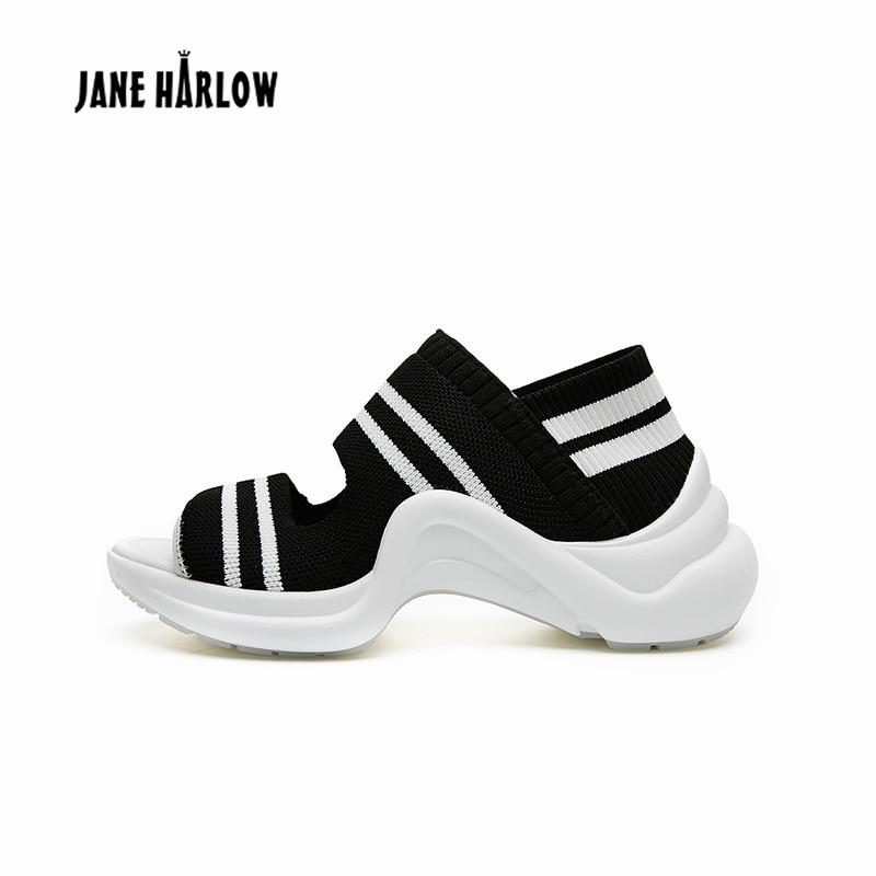 Ayakk.'ten Orta Topuklu'de 2019 Yaz Yeni Rahat Kama Kadın Ayakkabı Kadın Sandalet Streç Kumaş Dikiş Renk Rahat Serin Giyim Hafif Sandalet'da  Grup 3