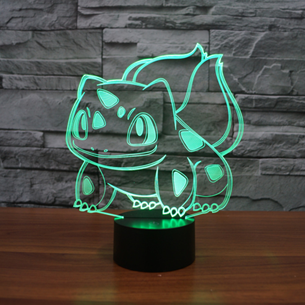 3D Atmosphere lamp 7 Color Changing Visual illusion LED Decor Lamp Pokemon Bulbasaur Home Table Decoration for Child Gift