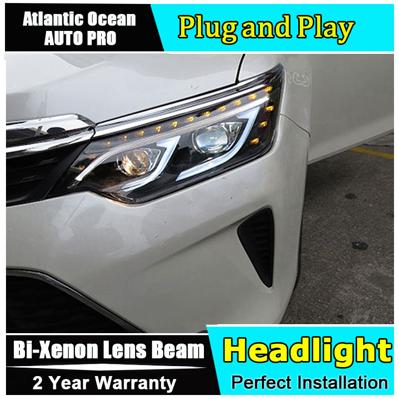 Car Styling for Toyota Camry V55 LED Headlight 2015 2017 New Camry Headlamps drl Lens Double