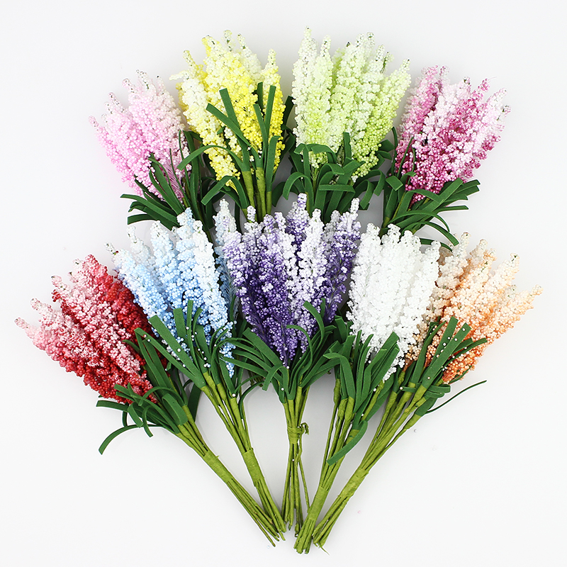 Artificial Lavender flower Bouquet, Multicolor foam flowers for ...