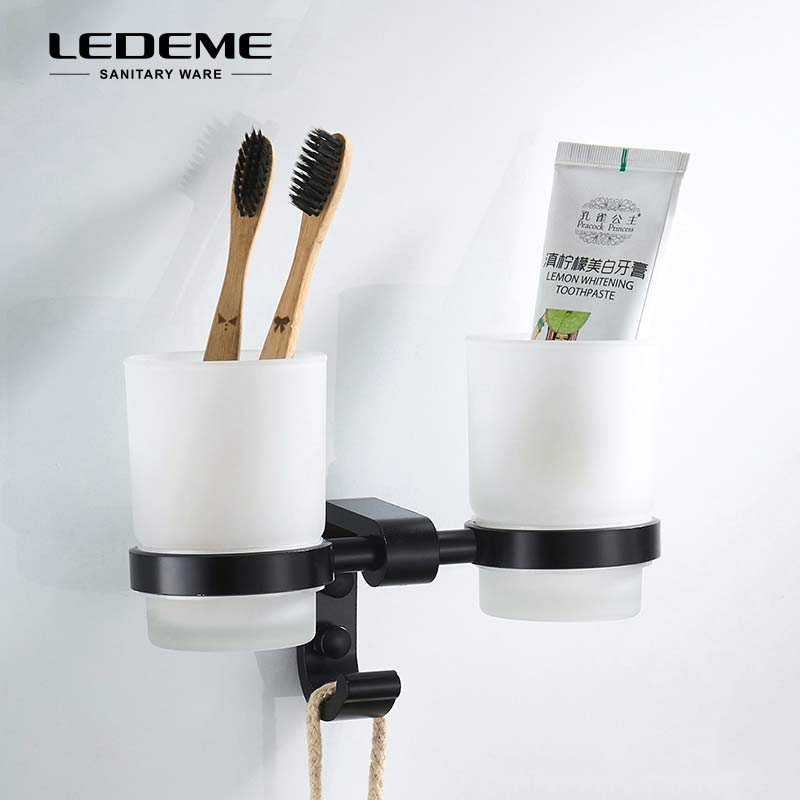 LEDEME Space Aluminium Tumbler Cup Holder With Hooks Glass Cups Bathroom Accessories Toothbrush Tooth Double Cup Holder L5508 image