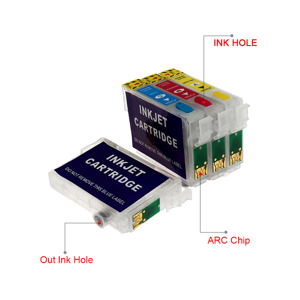T1281 T1282 T1283 T1284 Refillable Ink Cartridge for Epson Stylus S22 SX125 SX420W SX425W SX235W SX130 Printer With ARC Chips