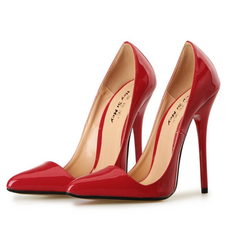 HSM woman shoes Pointed Toe Pumps 14cm Thin heels zapatos mujer Plus: 40- 48 49 Professional women Stilettos Fashion Show shoes