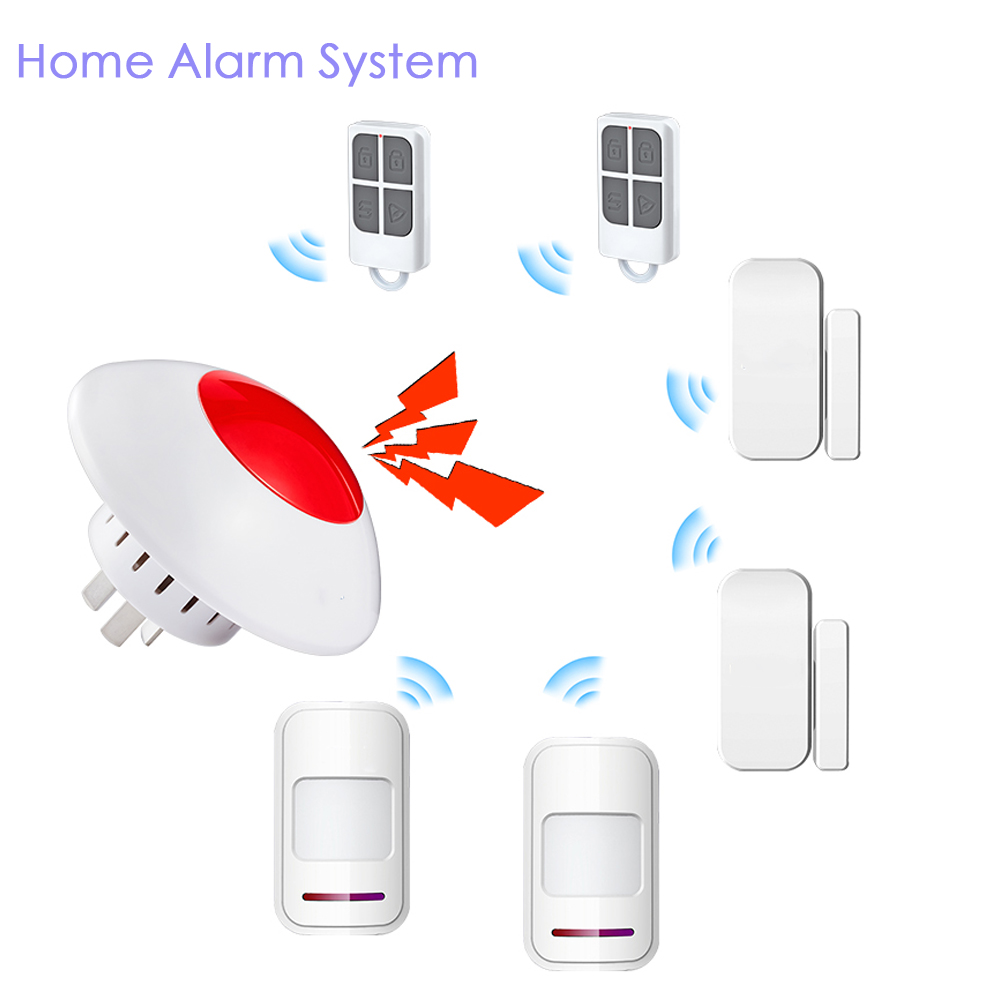 Wireless Simple Design Flash Strobe Indoor Siren Alarm Horn Red Sound Light Siren  433Mhz Home Burglar Security Alarm System ms 490 ac 110v 220v 150db motor driven air raid siren metal horn double industry boat alarm