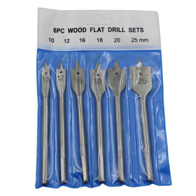 Prostormer Woodworking flat drill bit 6pcs/set 10mm-25mm Steel Wood Flat Drill Set Woodworking Spade Drill Bits Woodworking Tool